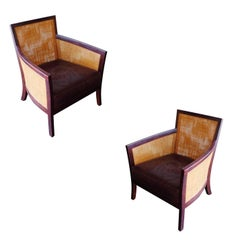 Contemporary Dark Stained Wicker Lounge Chair