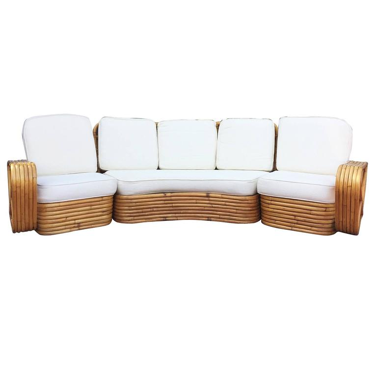 Six Strand Square Pretzel Curved Rattan Sectional Sofa Designed In The Style Of Paul Frankl