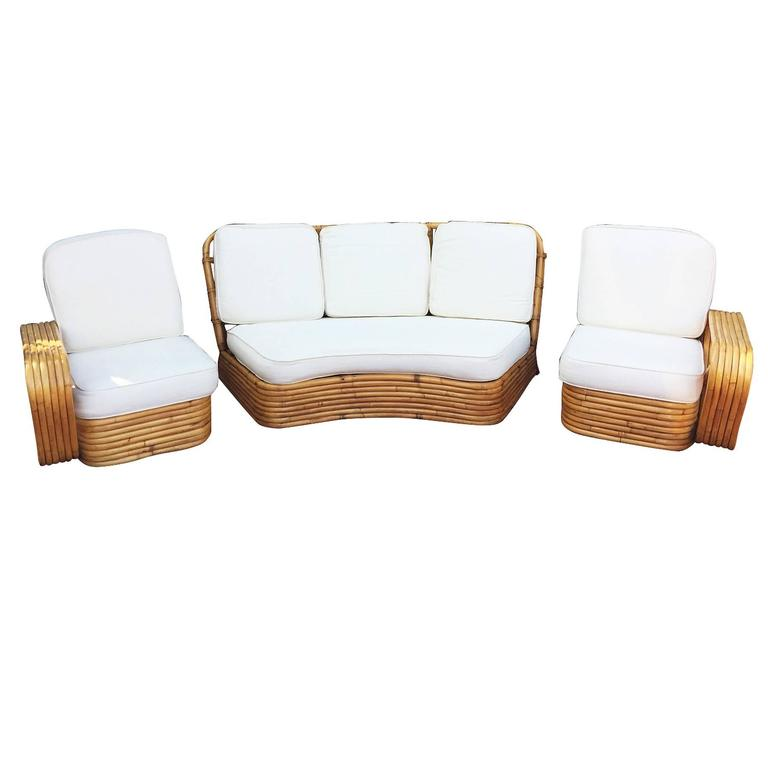 Art Deco Restored Paul Frankl Style Six Strand Rattan Five-Seat Curved Sectional Sofa For Sale