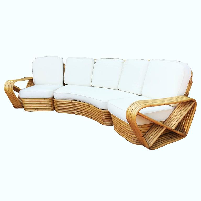 American Restored Paul Frankl Style Six Strand Rattan Five-Seat Curved Sectional Sofa For Sale