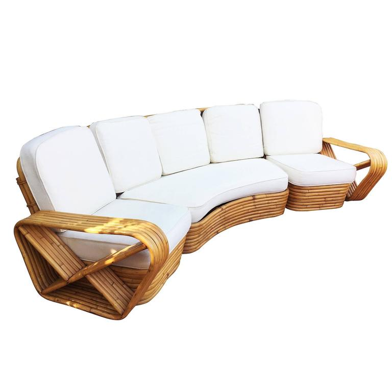 restored paul frankl style six strand rattan five seat curved sectional sofa for sale at 1stdibs
