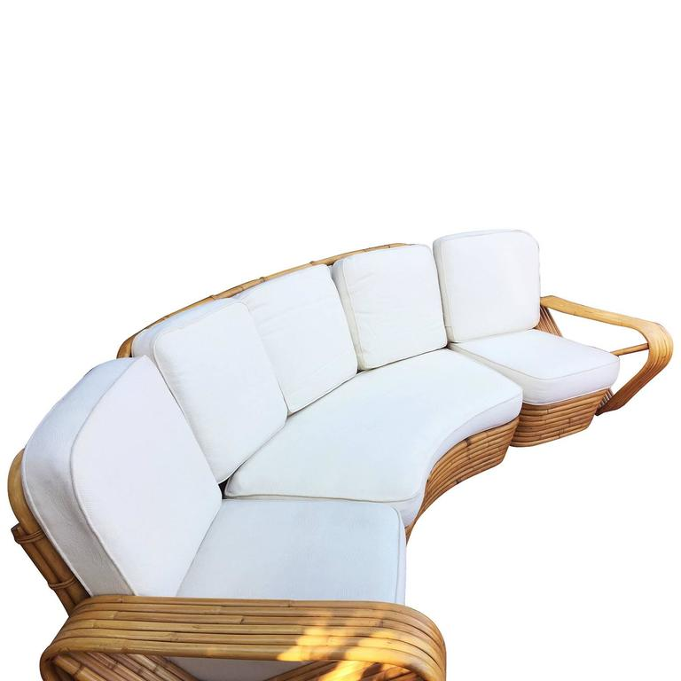 Restored Paul Frankl Style Six Strand Rattan Five-Seat Curved Sectional Sofa In Excellent Condition For Sale In Van Nuys, CA