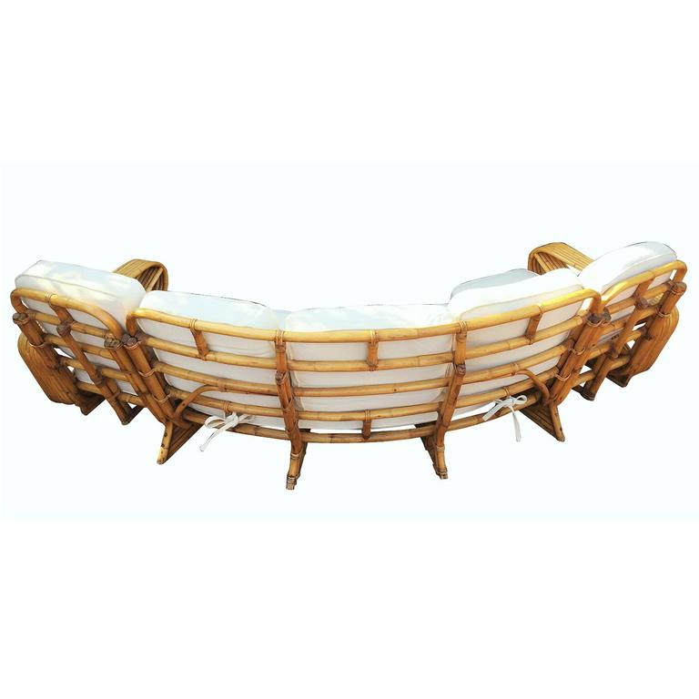 Restored Paul Frankl Style Six Strand Rattan Five-Seat Curved Sectional Sofa For Sale 2