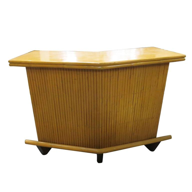 Restored Mid Century Rattan Boomerang Bar With Foot Rest