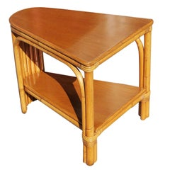 Restored Early Two-Tier Rattan Corner Side Table with Mahogany Table Top