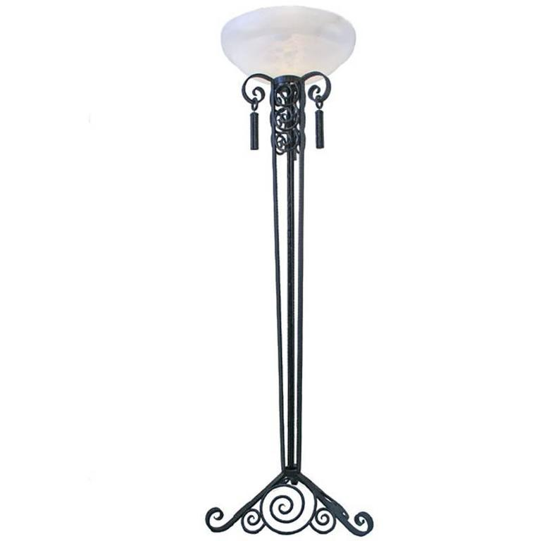 Paul Kiss Style Scrolling Wrought Iron Torchiere Floor Lamp with Alabaster Shade