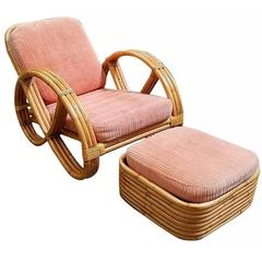 Restored Round Full Pretzel Rattan Lounge Chair with Ottoman