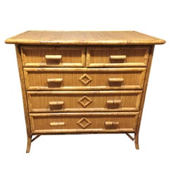 Tiger Bamboo Lowboy Dresser with Ricemat Covering