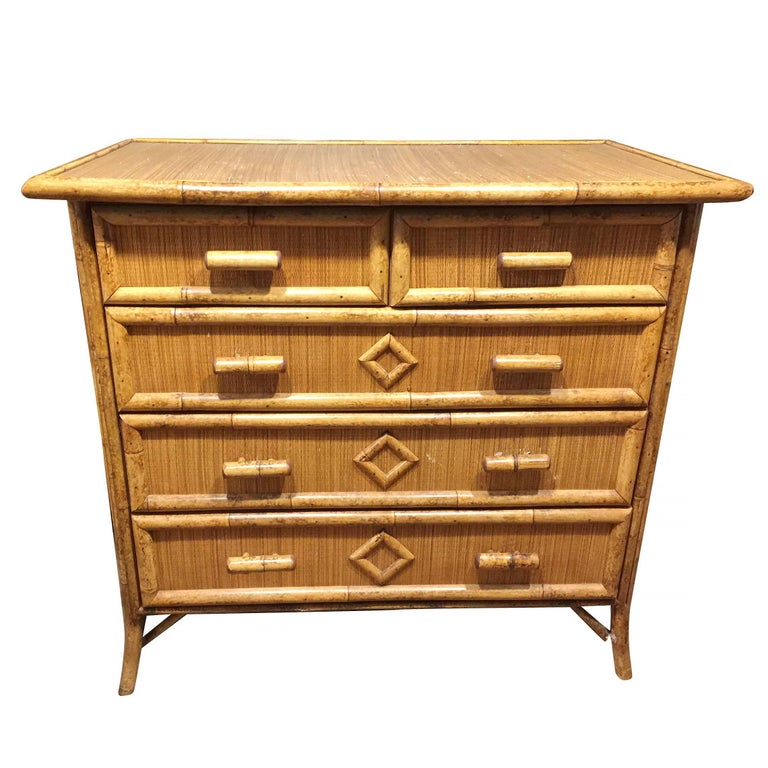 Tiger Bamboo Lowboy Dresser With Ricemat Covering For Sale