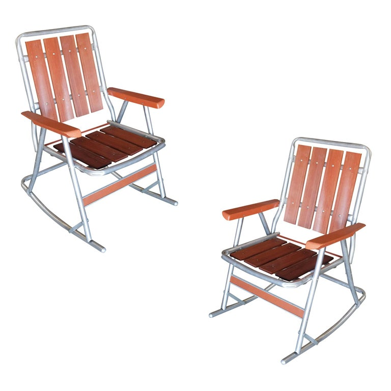 Mid Century Aluminum and Wood Outdoor Folding Rocking Chair Pair For Sale at