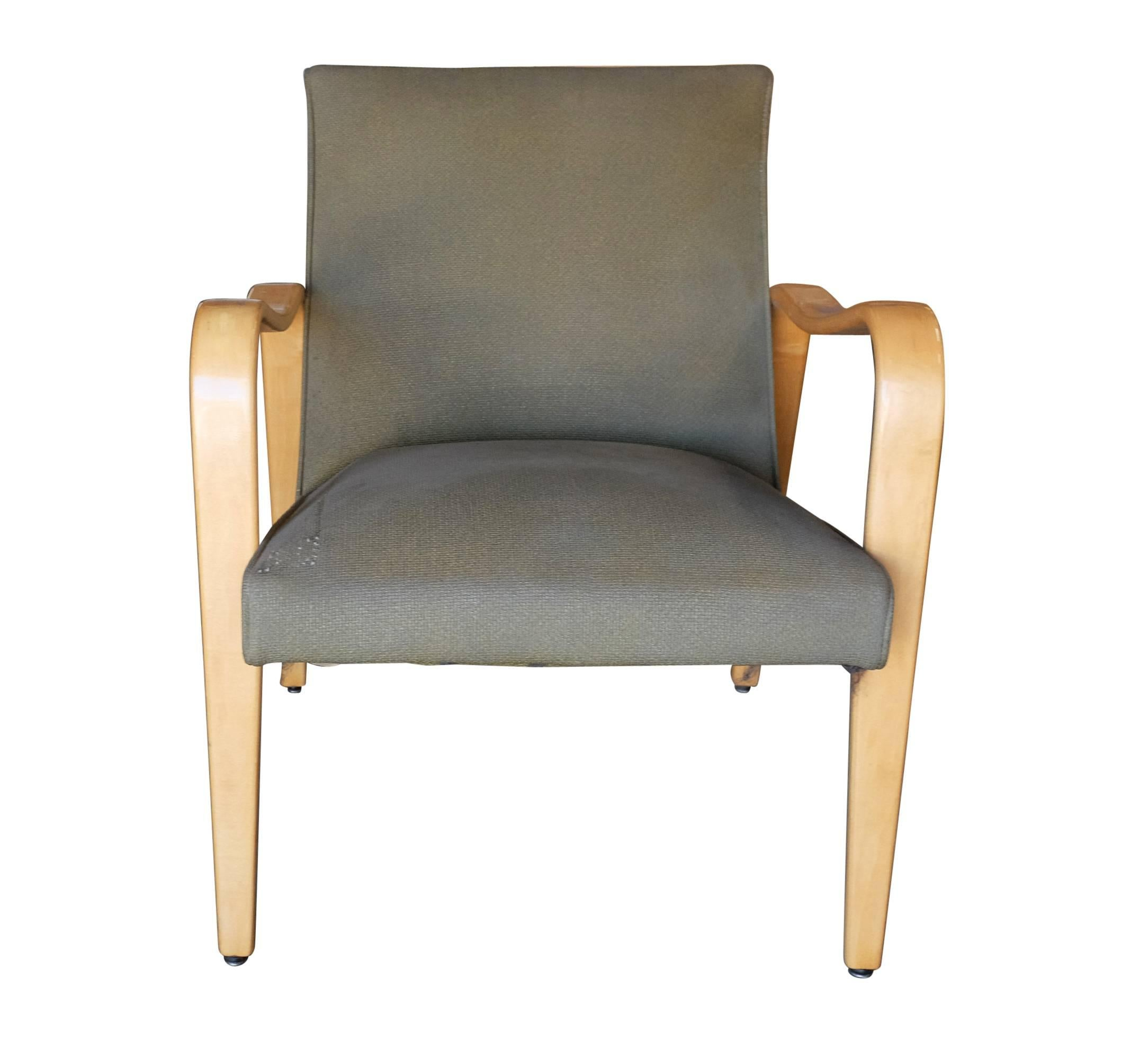 Mid Century Modern Pair Of Thonet Bentwood Armchairs With Dark Green Seats  For Sale