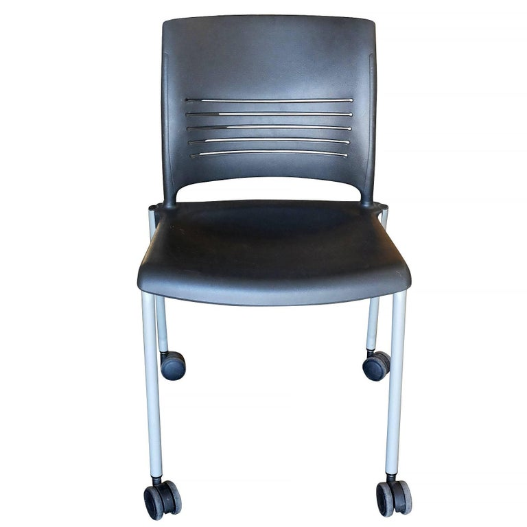 Modern Giancarlo Piretti Rolling Side Desk Chair by Strive, Set of 14 For Sale