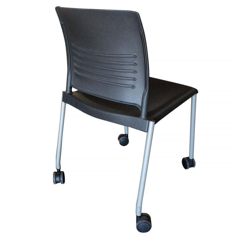 Giancarlo Piretti Rolling Side Desk Chair by Strive, Set of 14 In Good Condition For Sale In Van Nuys, CA