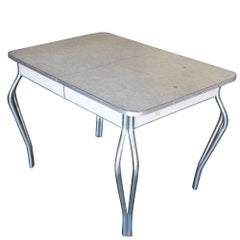 Mid-Century Formica Kitchen Dining Table with Chrome Legs