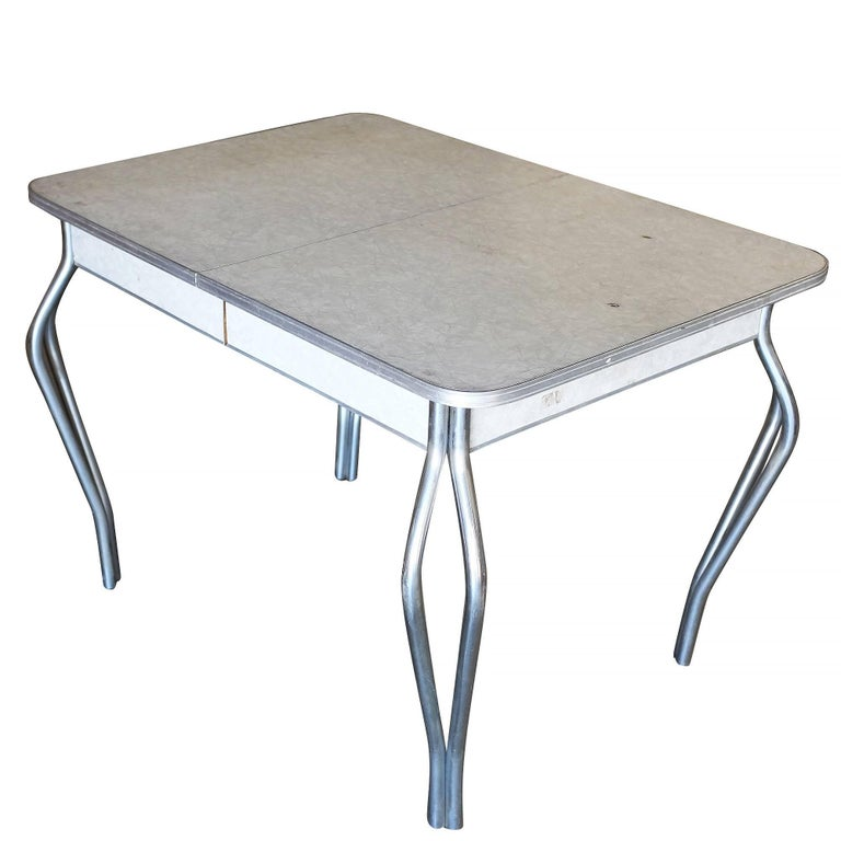 Mid Century Formica Kitchen Dining Table With Chrome Legs