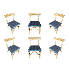 Midcentury Rattan Dining Side Chair with Three Strand Back, Set of Six