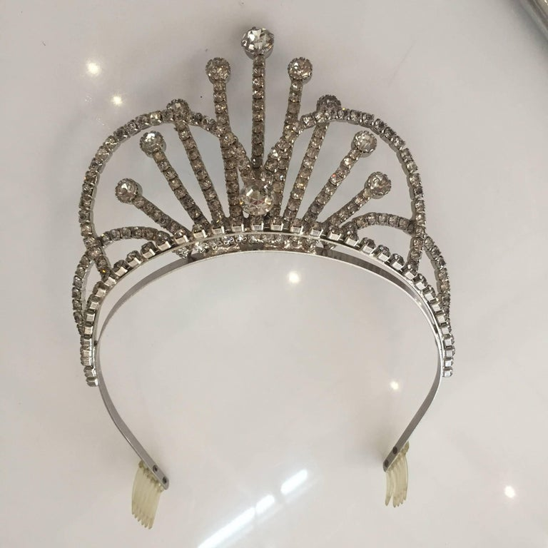 American Rhinestone Tiara Wedding Crown, circa 1950 For Sale
