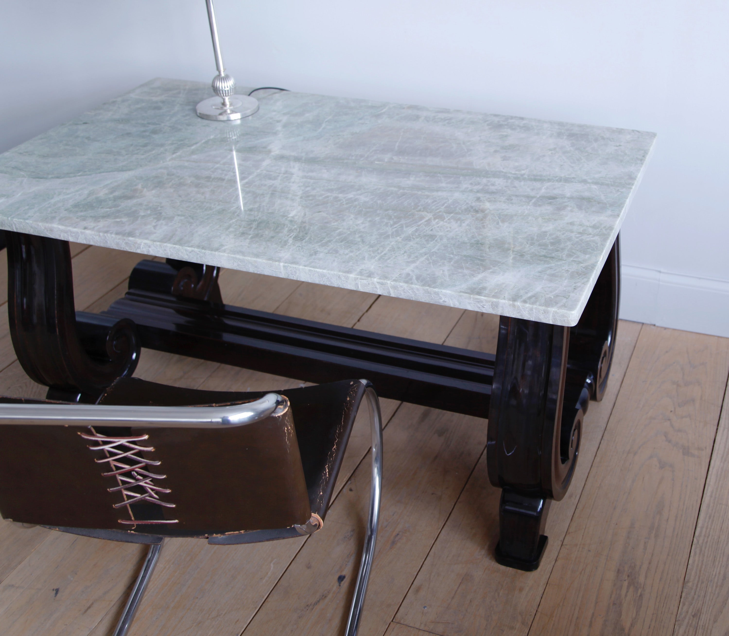 Mahogany Scroll-Base Table with Brazilian Quartz Top For Sale at 1stdibs