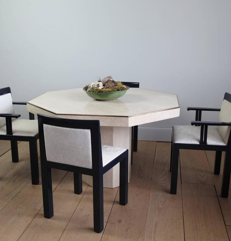 octagonal travertine italian dining table at 1stdibs