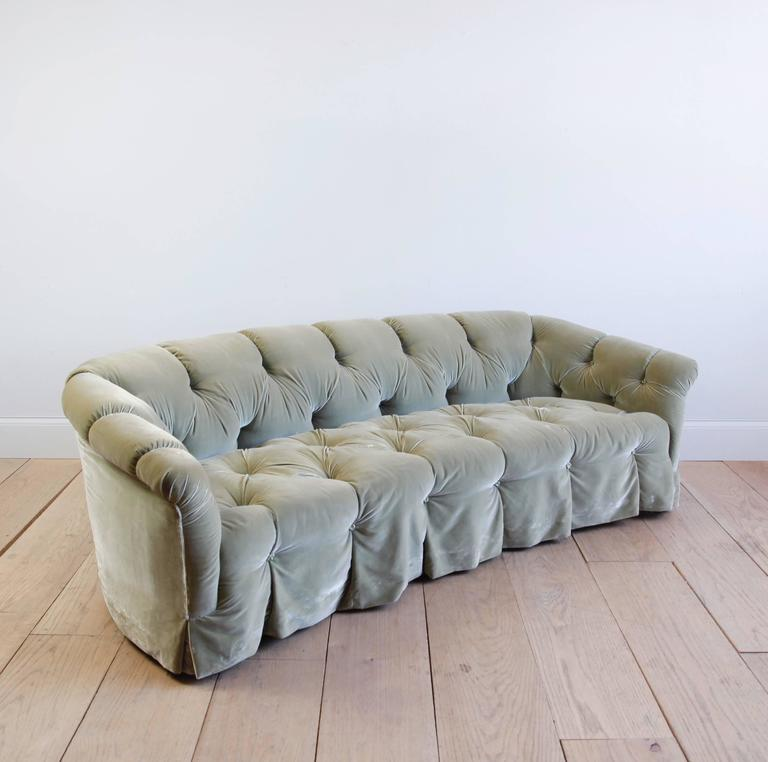 American Rare Tufted Velvet Sofa by Anthony Hail For Sale