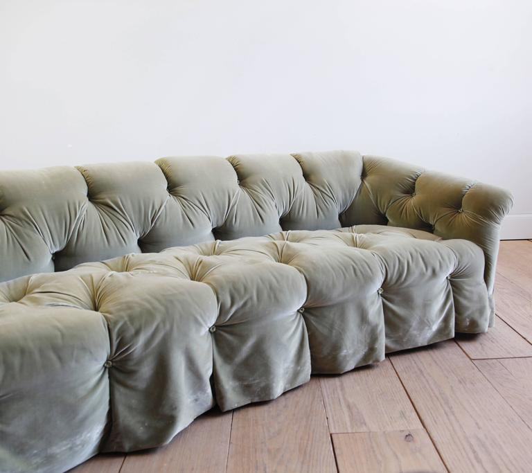 Rare Tufted Velvet Sofa By Anthony Hail In Good Condition For New York