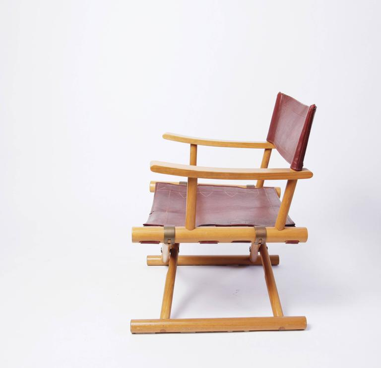 Scandinavian Modern Leather Director's Chair by Sune Lindström For Sale