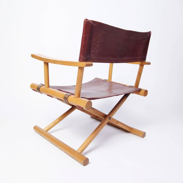 Brass Leather Director's Chair by Sune Lindström For Sale