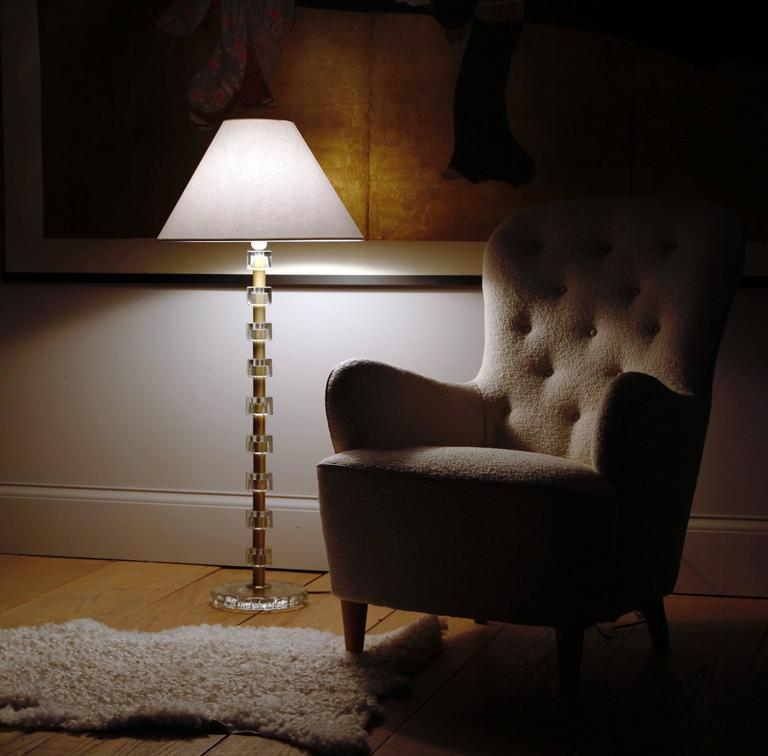 A Glamorous Floor Lamp The Stem Comprised Of Alternating Cut Crystal And Satin Br