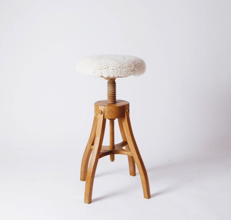 Oak And Shearling Adjustable Work Stool By Fritz Hansen