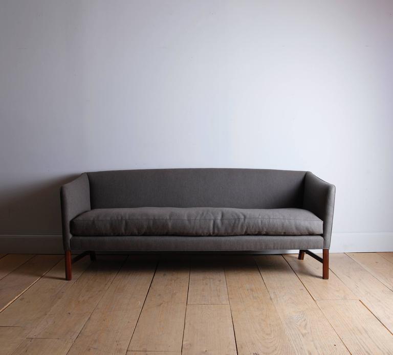 Scandinavian Modern Three-Seat Sofa with Brazilian Rosewood Legs by Ole Wanscher For Sale
