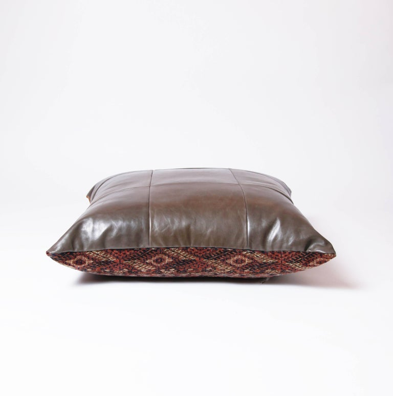 Leather Floor Pillows Cushions : Persian Balouch and Leather Floor Cushion For Sale at 1stdibs