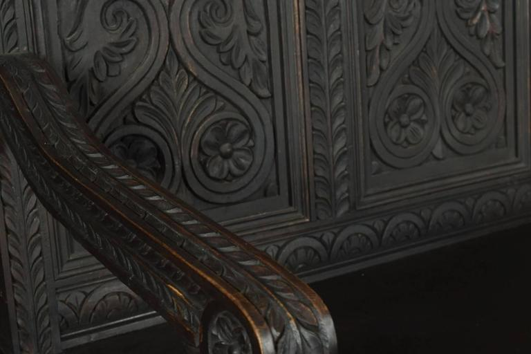 English Pair of Carved Ebonized Hall Benches For Sale