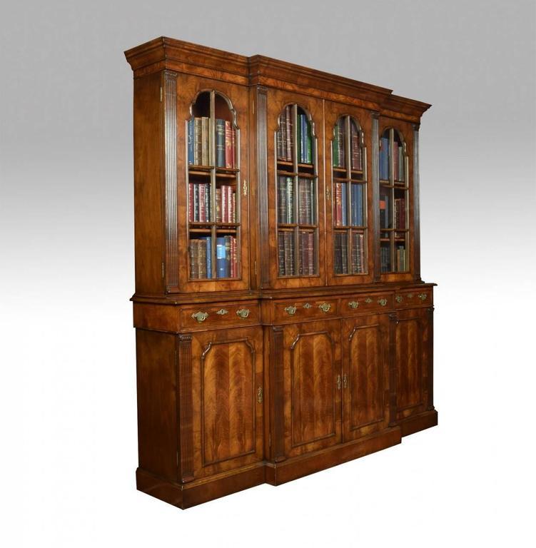 Queen Anne Revival Walnut Four Door Breakfront Bookcase 2