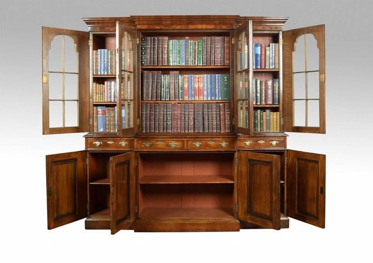 Queen Anne Revival Walnut Four Door Breakfront Bookcase 3