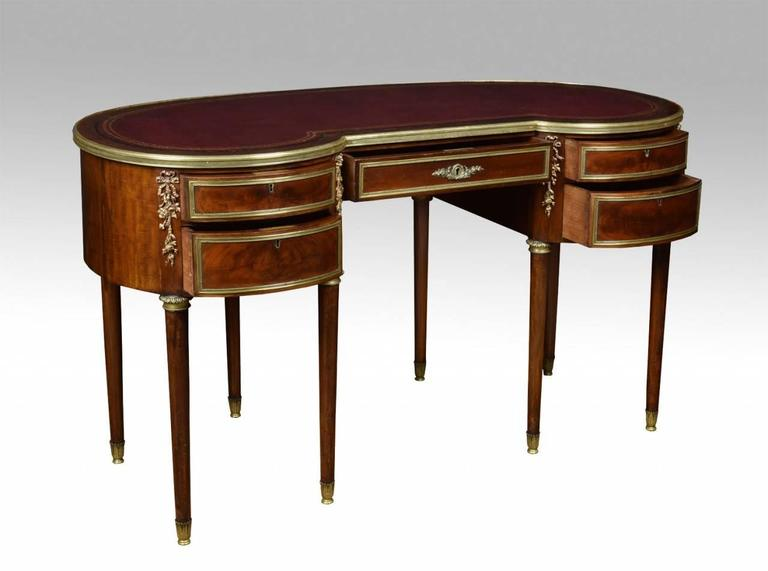 Mahogany kidney shaped empire writing desk for sale at stdibs