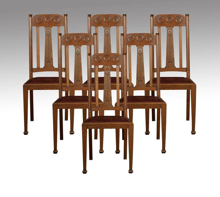 set of eight oak arts and crafts dining chairs at 1stdibs. Black Bedroom Furniture Sets. Home Design Ideas