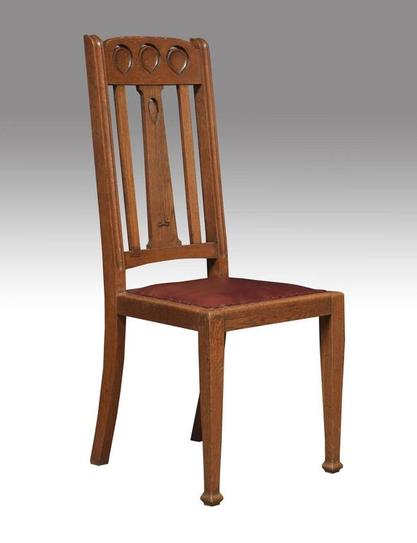 English Set Of Eight Oak Arts And Crafts Dining Chairs For