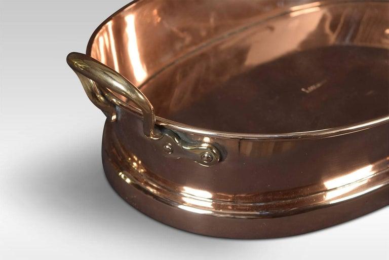 Grande piatto da forno ovale in rame pesante, padella o paella-7423