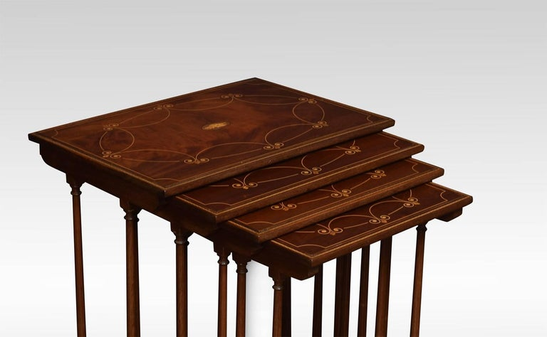 Nest Of Four Mahogany Inlaid Tables At 1stdibs