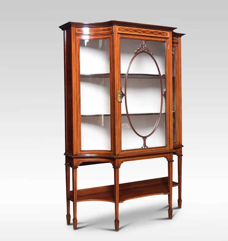 British Edwardian Inlaid Mahogany Display Cabinet For Sale