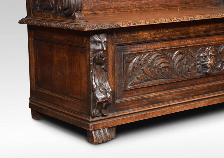 19th Century Carved Oak Hall Settle For Sale