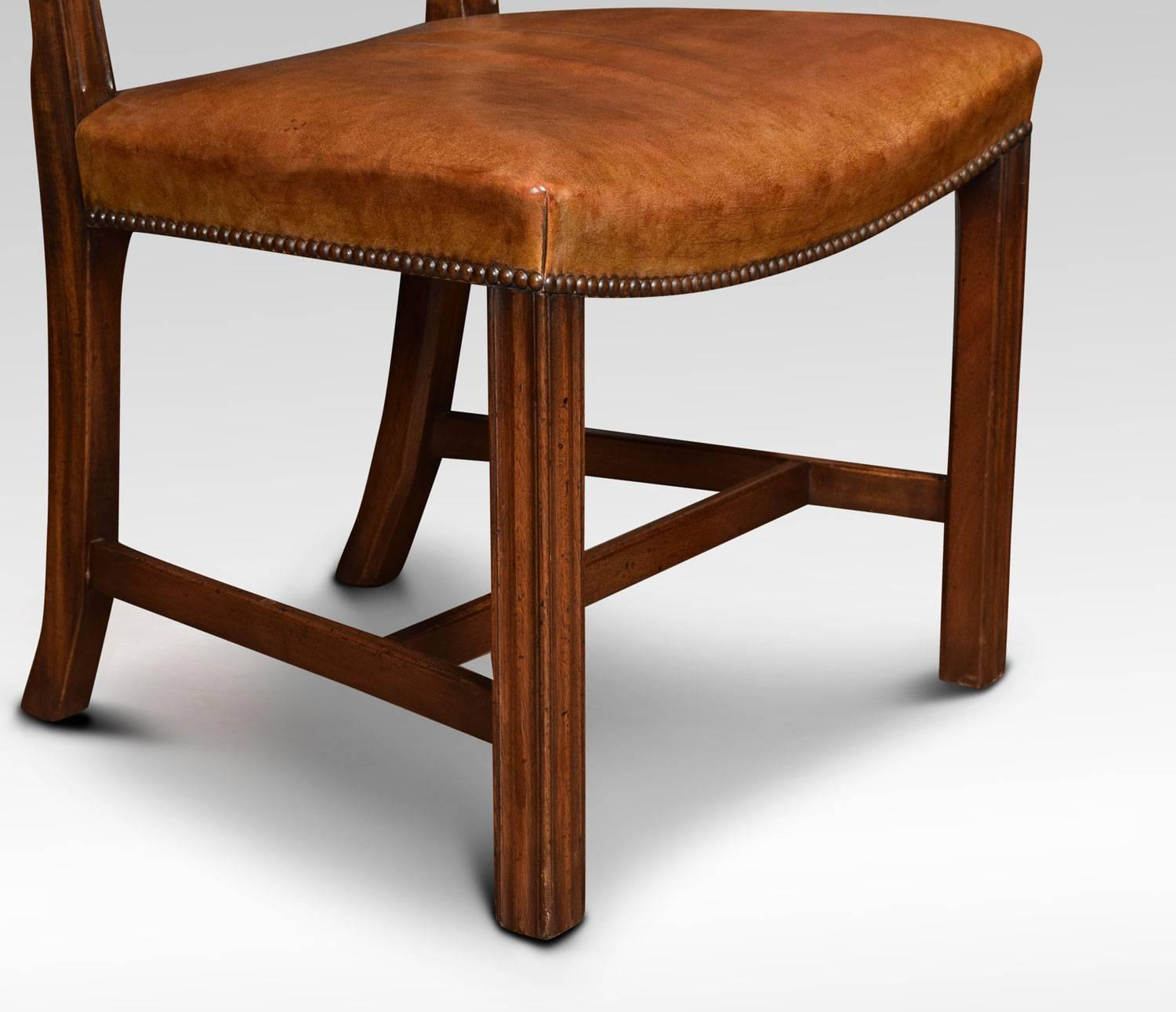 Set Of Eight Mahogany Ribbon Back Chippendale Style Dining Chairs For At 1stdibs