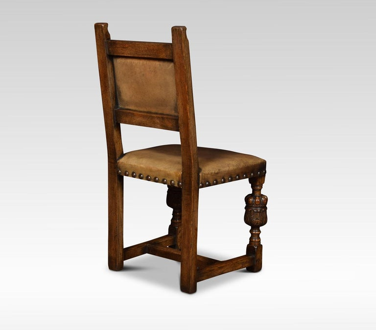 Set of Eight Carved Oak Dining Chairs For Sale 1