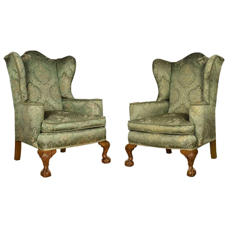 Pair Of George Iii Style Wing Armchairs For Sale At 1stdibs