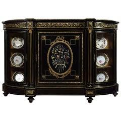 Napoleon III Gilt Bronze and Pietra Dura Mounted Ebonized Cabinet or Credenza