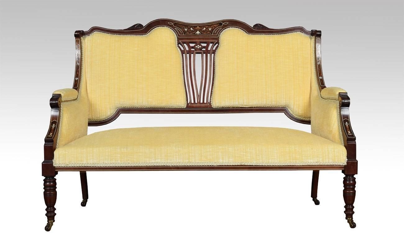 Mahogany inlaid two seater settee for sale at 1stdibs for Settees for sale