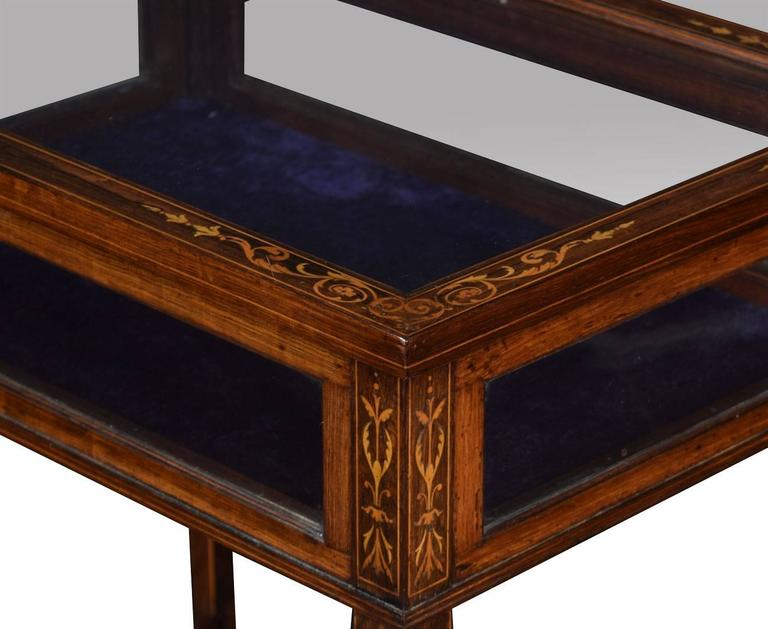 Edwardian rosewood and inlaid rectangular bijouterie display table In Good Condition For Sale In Cheshire, GB