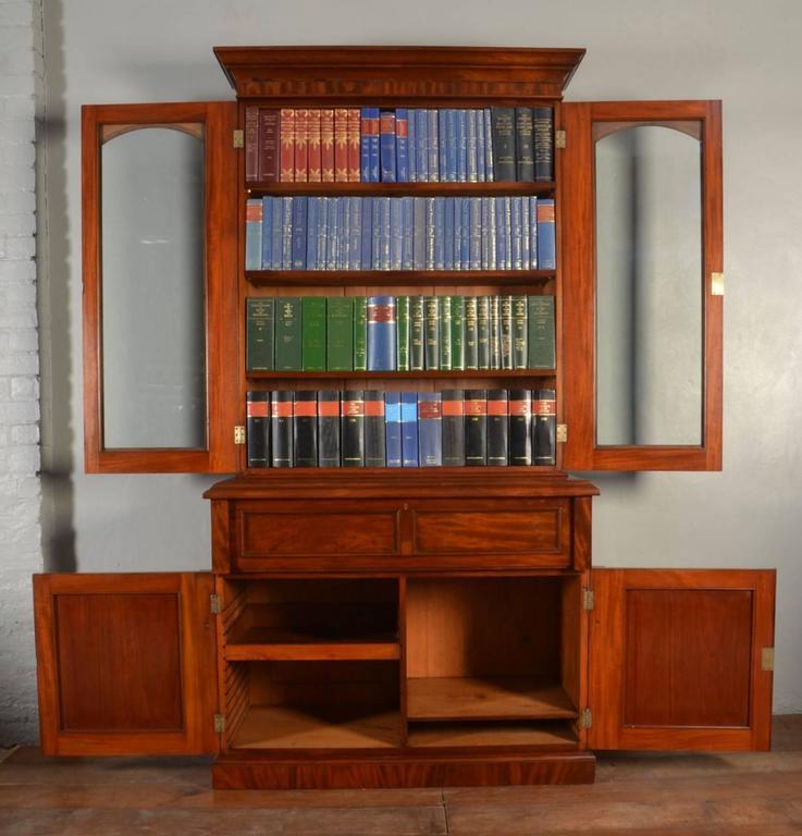 Victorian Mahogany Two Door Secretaire Bookcase For Sale