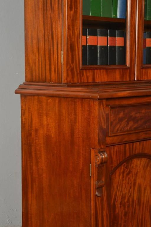 Mahogany Two Door Secretaire Bookcase In Excellent Condition For Sale In Cheshire, GB