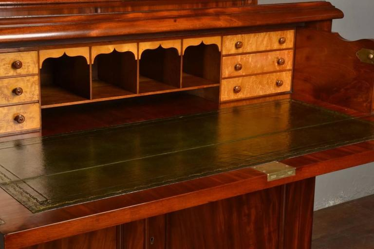 19th Century Mahogany Two Door Secretaire Bookcase For Sale